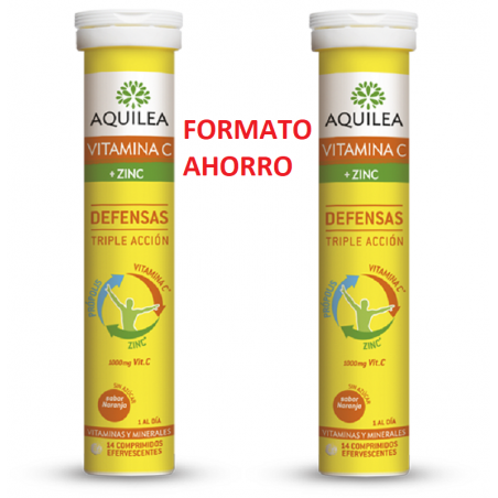 AQUILEA VITAMINA C + ZINC DEFENSAS 28 COMP. EFFERVESCENTES
